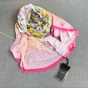 NEW Ted Baker pretty Trees long scarf dusty pink